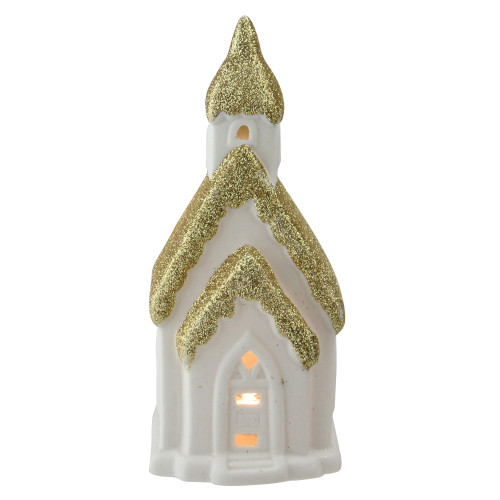 """6"""" Home Sweet Home White and Gold Ceramic House with Light Figurine - IMAGE 1"""