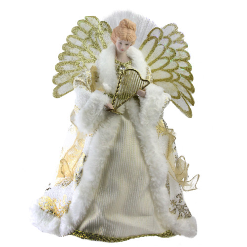 "12"" Lighted Fiber Optic Angel in Gold and Cream Gown with Harp Christmas Tree Topper - IMAGE 1"