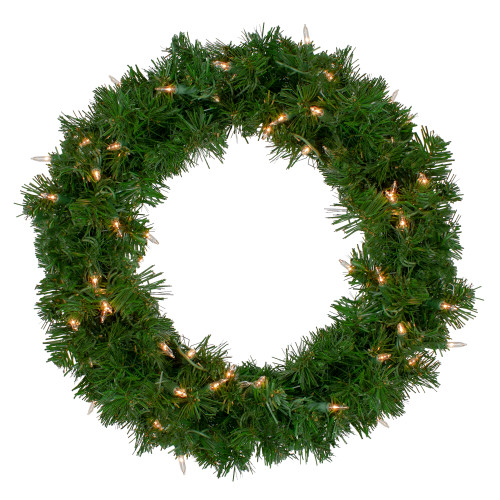 """18"""" Deluxe Windsor Pine Artificial Christmas Wreath - Clear Lights - IMAGE 1"""