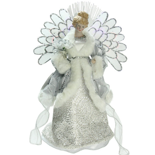 "13"" Gray and Silver Lighted Fiber Optic Angel in Gown Christmas Tree Topper - Multicolor Lights - IMAGE 1"