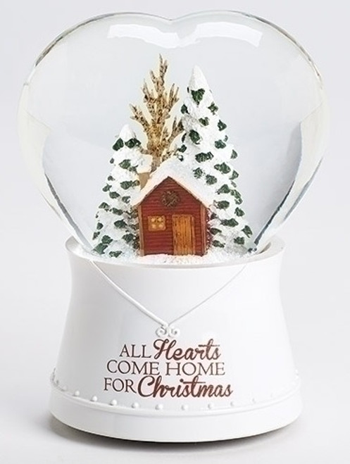 """Set of 2  Musical All Hearts Come Home for Christmas Heart Shaped Glitterdome 6.75"""" - IMAGE 1"""