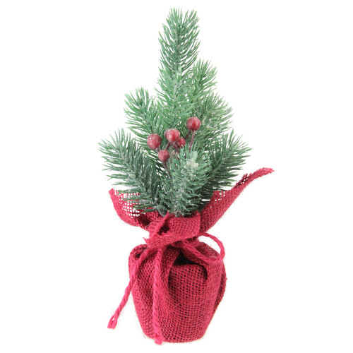 """9.5"""" Red and Green Frosted Mini Pine Christmas Tree with Berries in Burlap Base - Unlit - IMAGE 1"""