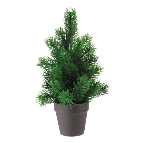 "11"" Matte Finish Mini Pine Christmas Tree in Dark Coffee Brown Vase - Unlit - IMAGE 1"