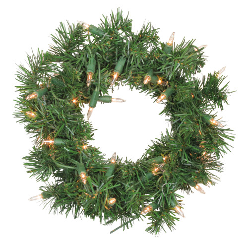 Pre-Lit Deluxe Windsor Pine Artificial Christmas Wreath - 10-Inch, Clear Lights - IMAGE 1