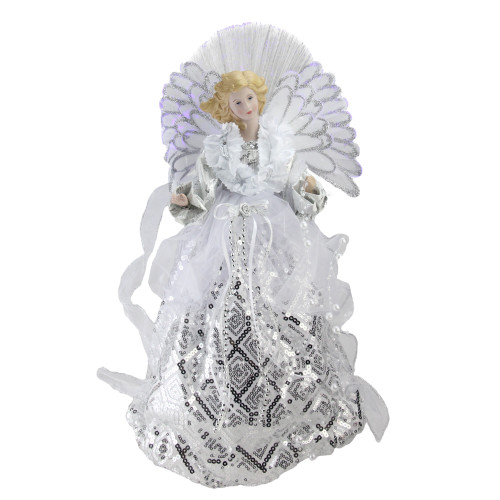 "16"" White and Silver Lighted Angel Sequined Gown Christmas Tree Topper - IMAGE 1"