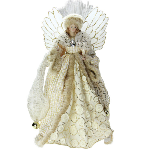 "16"" Ivory and Gold Angel in Sequined Gown Christmas Tree Topper - IMAGE 1"