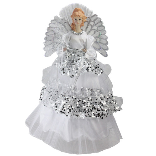 "16"" White and Silver Lighted Fiber Optic Angel Sequined Gown Christmas Tree Topper - IMAGE 1"