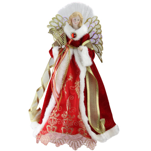 "16"" Lighted Fiber Optic Angel in Garnet Red Coat with Harp Christmas Tree Topper - IMAGE 1"