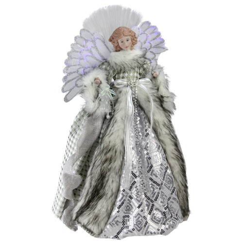 "16"" Lighted Fiber Optic Angel in Silver Gingham Coat Christmas Tree Topper - IMAGE 1"