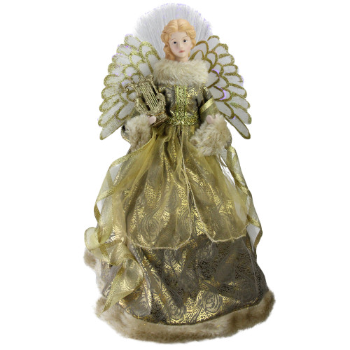 "16"" Gold and Brown Lighted Angel in Gown with Harp Christmas Tree Topper - IMAGE 1"