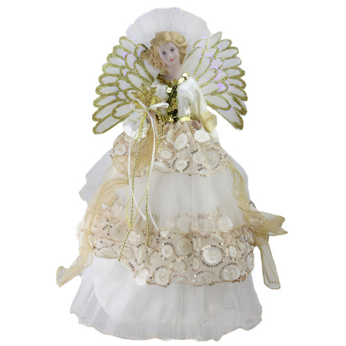 "16"" White and Gold Lighted Angel Sequined Gown Christmas Tree Topper - IMAGE 1"