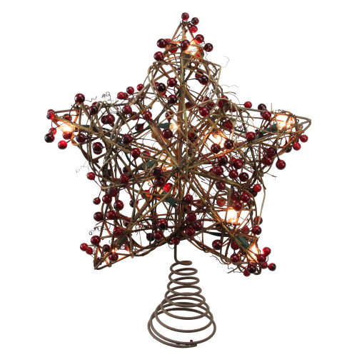 """13.5"""" Brown Rattan with Red Berries Star Christmas Tree Topper - Clear Lights - IMAGE 1"""