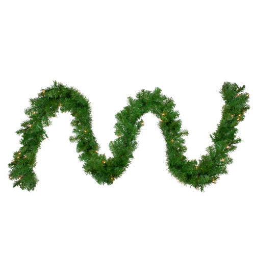 "9' x 10"" Pre-Lit Windsor Pine Artificial Christmas Garland - Clear Lights - IMAGE 1"
