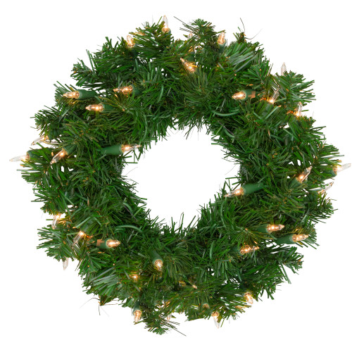 Pre-Lit Deluxe Windsor Pine Artificial Christmas Wreath - 12-Inch, Clear Lights - IMAGE 1