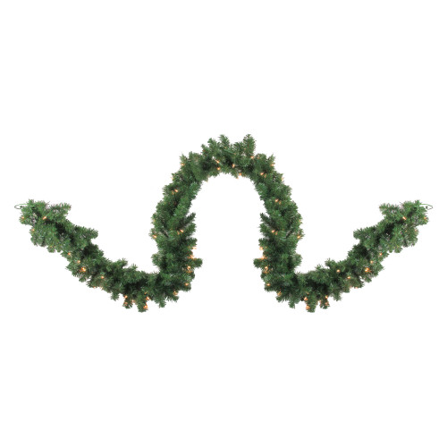 "9' x 10"" Pre-Lit Pine Artificial Christmas Garland - Clear Dura-Lit Lights - IMAGE 1"
