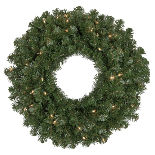 """30"""" Pre-Lit Deluxe Windsor Pine Artificial Christmas Wreath - Clear Lights - IMAGE 1"""