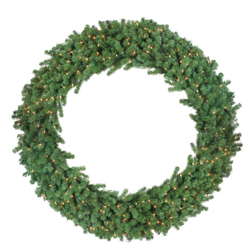Green Deluxe Windsor Pine Artificial Christmas Wreath - 72-Inch, Clear Lights - IMAGE 1