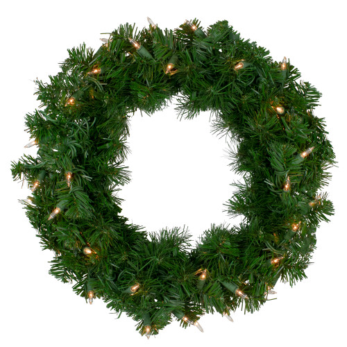 Deluxe Windsor Pine Artificial Christmas Wreath - 16-Inch, Clear Lights - IMAGE 1
