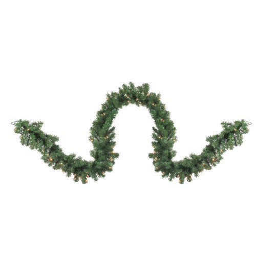 "9' x 18"" Pre-Lit Deluxe Windsor Green Pine Christmas Garland - Clear Lights - IMAGE 1"