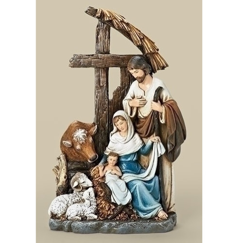 "11"" Joseph's Studio Religious Christmas Holy Family with Cross Stable Figurine - IMAGE 1"