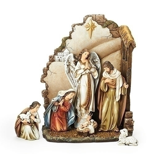 "Set of 7 Joseph's Studio Religious Christmas Nativity Set with Backdrop 12"" - IMAGE 1"
