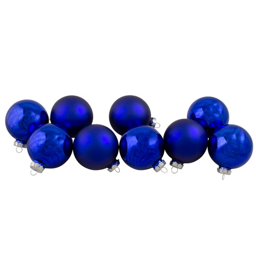 """9ct Royal Blue and Silver Glass 2-Finish Christmas Ball Ornaments 2.5"""" (63.5mm) - IMAGE 1"""