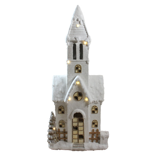 """48.5"""" White LED Lighted Musical Snowy Church Christmas Tabletop Decor - IMAGE 1"""
