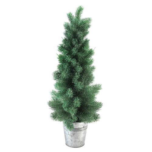 2' Potted Slim Iced Mini Pine Artificial Christmas Tree in Galvanized Bucket - Unlit - IMAGE 1