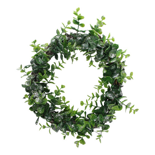 Sparkling Silver and Green Grass Decorative Artificial Christmas Wreath - 8.75-Inch, Unlit - IMAGE 1
