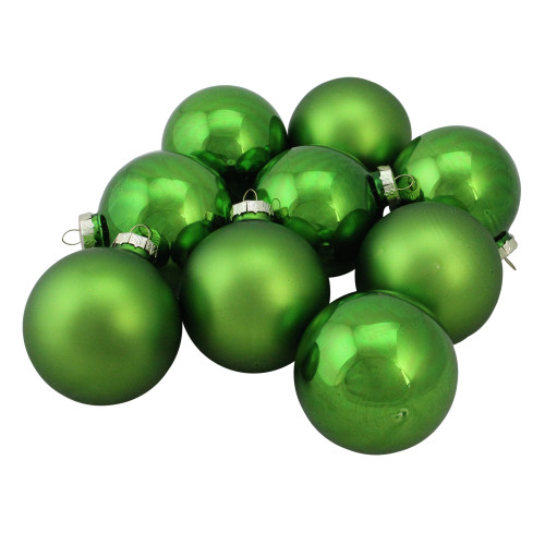 """9ct Grass Green Finish Glass Christmas Ball Ornaments 2.5"""" (65mm) - IMAGE 1"""