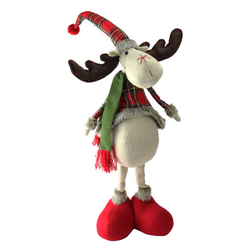 """28.5"""" Red and Green Plaid 2 Leg Standing Deer - IMAGE 1"""