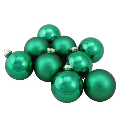 "9ct Green 2-Finish Glass Christmas Ball Ornaments 2.5"" (60mm) - IMAGE 1"