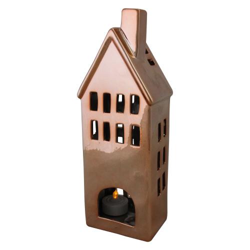 "10.5"" Shiny Copper Brown Ceramic House Tea Light Candle Holder - IMAGE 1"