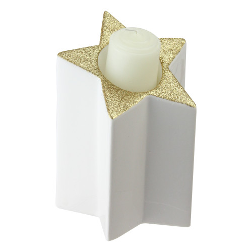 """6.25"""" Champagne Gold and White Glittered Pillar Candle Holder - IMAGE 1"""