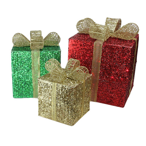 """Set of 3 Red Pre-Lit Glittering Gift Boxes Christmas Outdoor Decor 15"""" - IMAGE 1"""