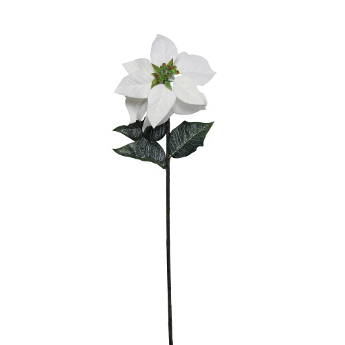 """28"""" Green and White Artificial Poinsettia Stem Christmas Pick - IMAGE 1"""