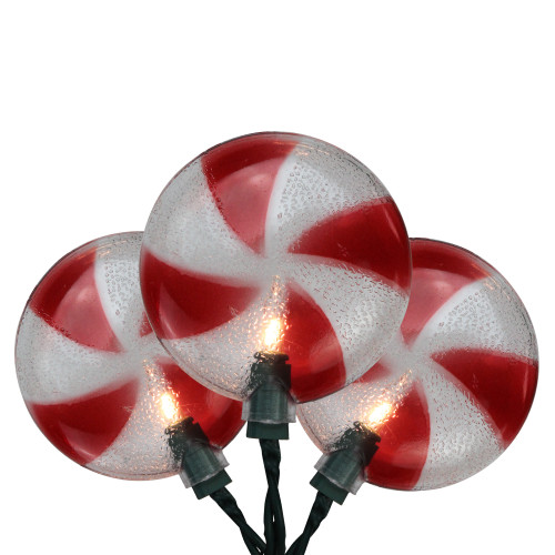 10-Count Peppermint Candy Shaped Christmas Light Set, 6ft Green Wire - IMAGE 1