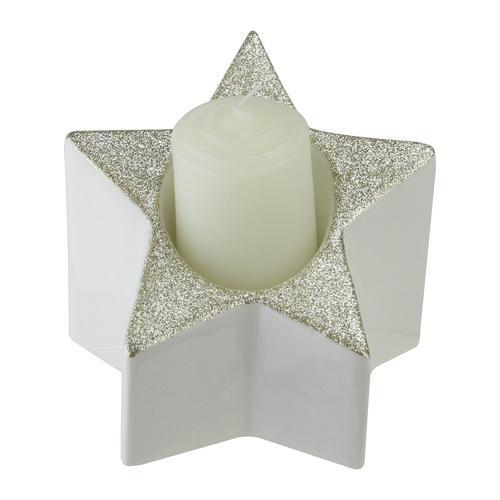 """4"""" White and Champagne Gold Glittered Star Pillar Candle Holder - IMAGE 1"""