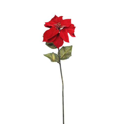 """28"""" Red and Green Candy Artificial Christmas Poinsettia Stem - IMAGE 1"""