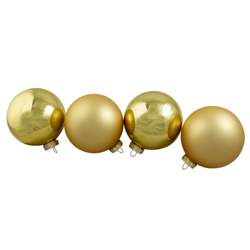 """4ct Gold Glass 2-Finish Christmas Ball Ornaments 4"""" (101.5mm) - IMAGE 1"""
