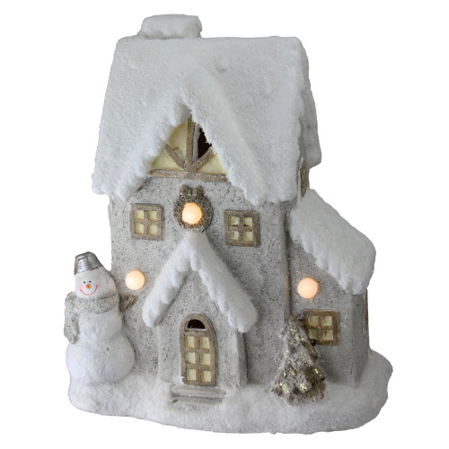 "14.5"" Pre-Lit White Musical House with Snowman Christmas Tabletop Decor - IMAGE 1"