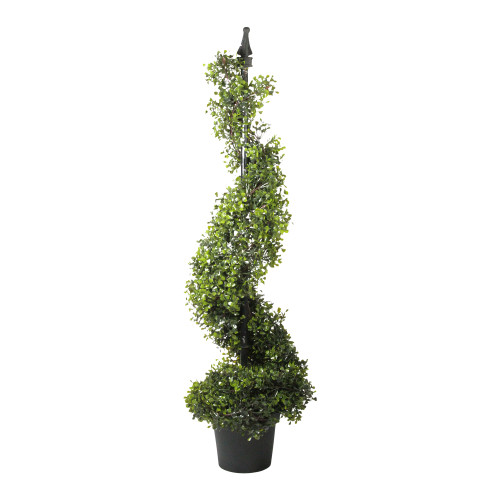 3.75' Two-Tone Boxwood Spiral Potted Artificial Topiary - Unlit - IMAGE 1