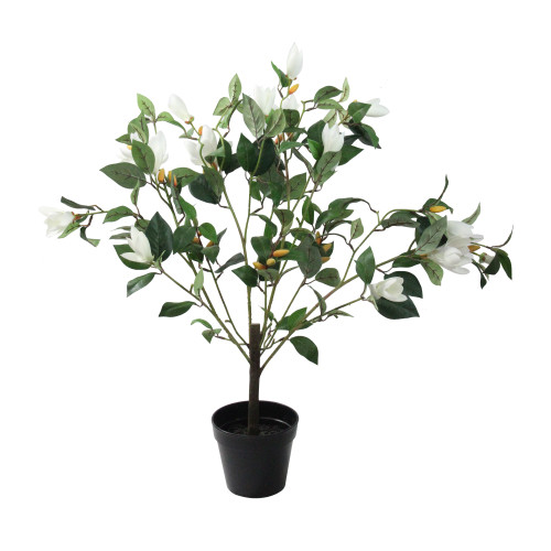 "32.5"" White and Black Potted Artificial Lily Magnolia Flowering Tree - IMAGE 1"