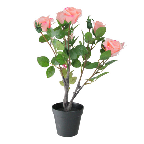 """19"""" Pink and Green Floral Ecuador Potted Artificial Rose Shrub - IMAGE 1"""
