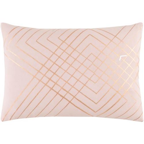 """19"""" Blush Pink and Gold Rectangular Throw Pillow - IMAGE 1"""