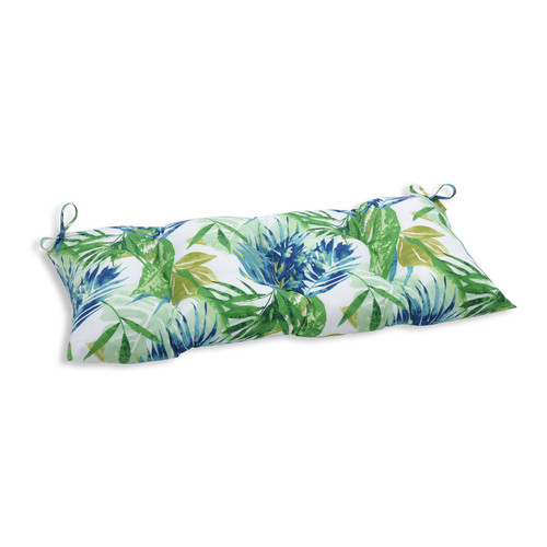 """44"""" Blue and Green Caribbean Forest Decorative Outdoor Patio Bench Cushion - IMAGE 1"""