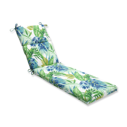 "72.5"" Blue and Green Outdoor Patio Chaise Lounge Cushion - IMAGE 1"