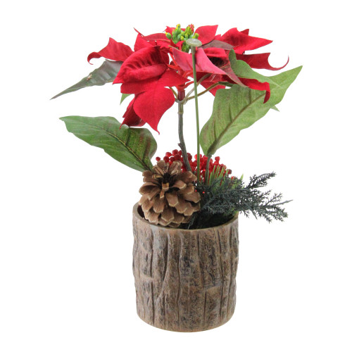 """10"""" Artificial Poinsettia with Pine Cone and Berries Decorative Potted Plant - IMAGE 1"""