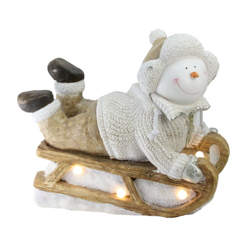 """15.5"""" Brown and White Battery Operated LED Snowman Sleigh Christmas Tabletop Decor - IMAGE 1"""