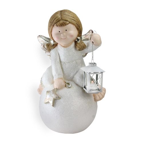 """17.75"""" White and Brown Glittered Angel Christmas Tabletop Decor - IMAGE 1"""